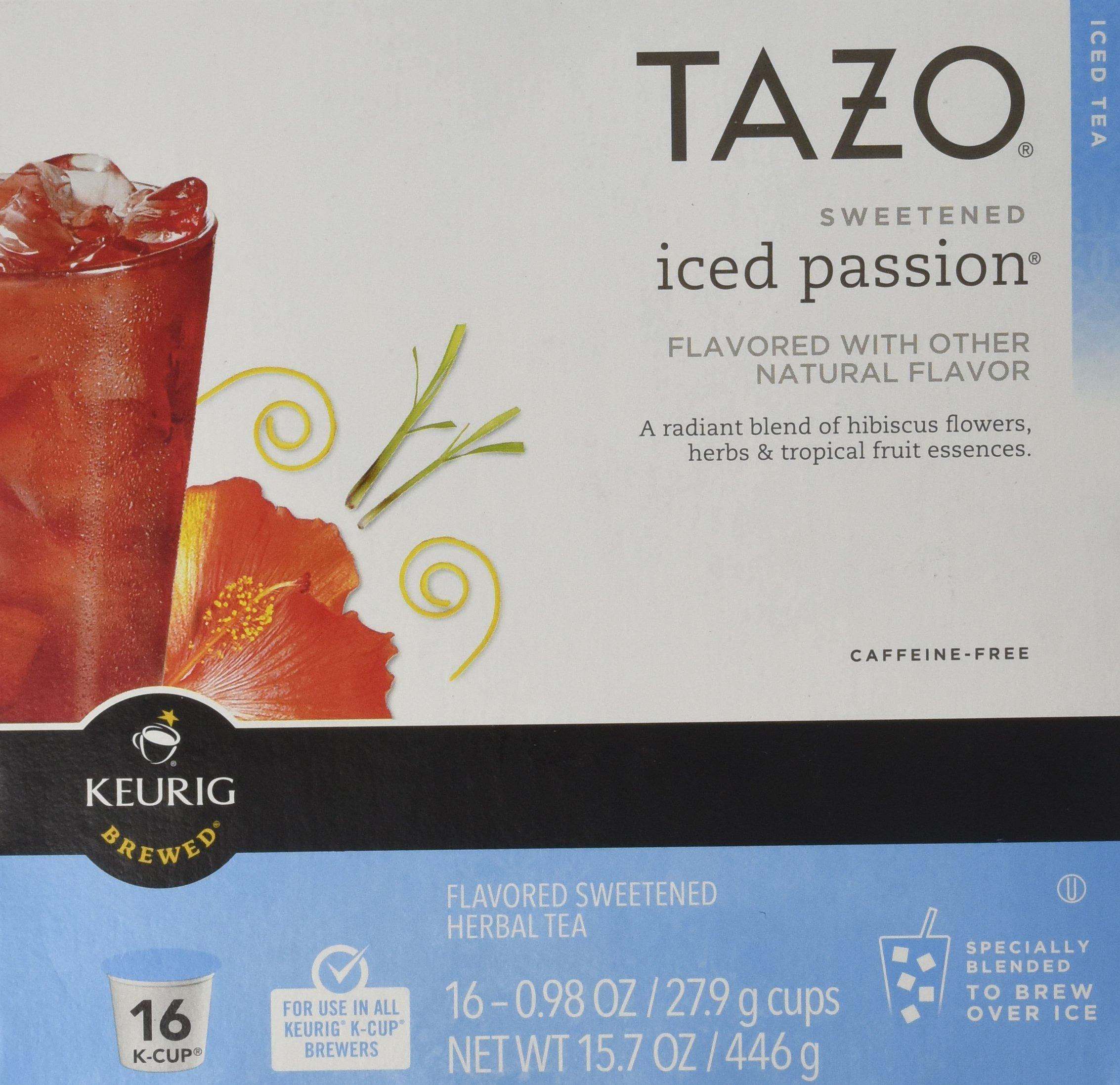 Keurig Tazo Sweetened Iced Passion Tea K-cup 16 Ct