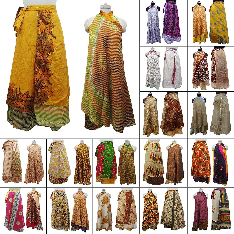 45cf559172030 OMA Women's Indian Reversible Magic Sari Skirt Long Wrap Skirt Dress -  Assorted Colors - Premium Quality Brand at Amazon Women's Clothing store: