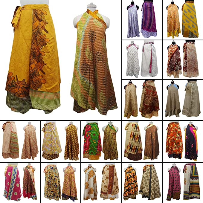 773f3a13caee OMA Women's Indian Reversible Magic Sari Skirt Long Wrap Skirt Dress ...