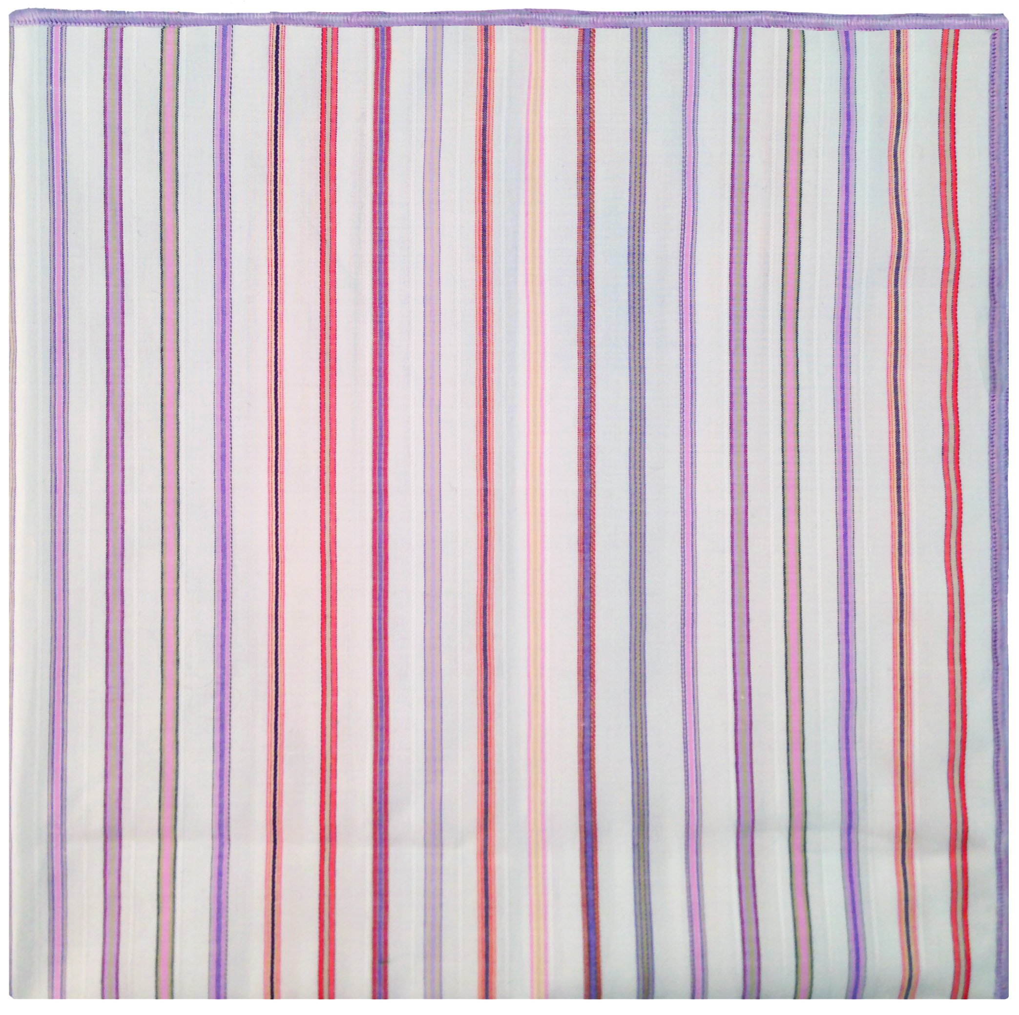 White & Multi Stripe w/Gingham Button Men's Pocket Square by The Detailed Male by The Detailed Male (Image #4)