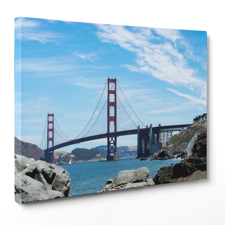 A  Senza Cornice Measurements  70 x 100 cmConKrea QUADRO golden Gate Bridge  Ponte Baia di San Francisco  USA America  California MODERN ON CANVAS Measurements  70 x 100 cm A  Senza Cornice