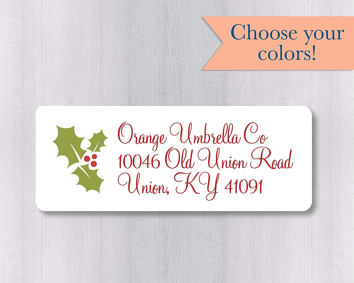 Christmas Return Address Labels.60ct Christmas Return Address Labels Holly Return Address Stickers Holiday Address Stickers 392 Wh