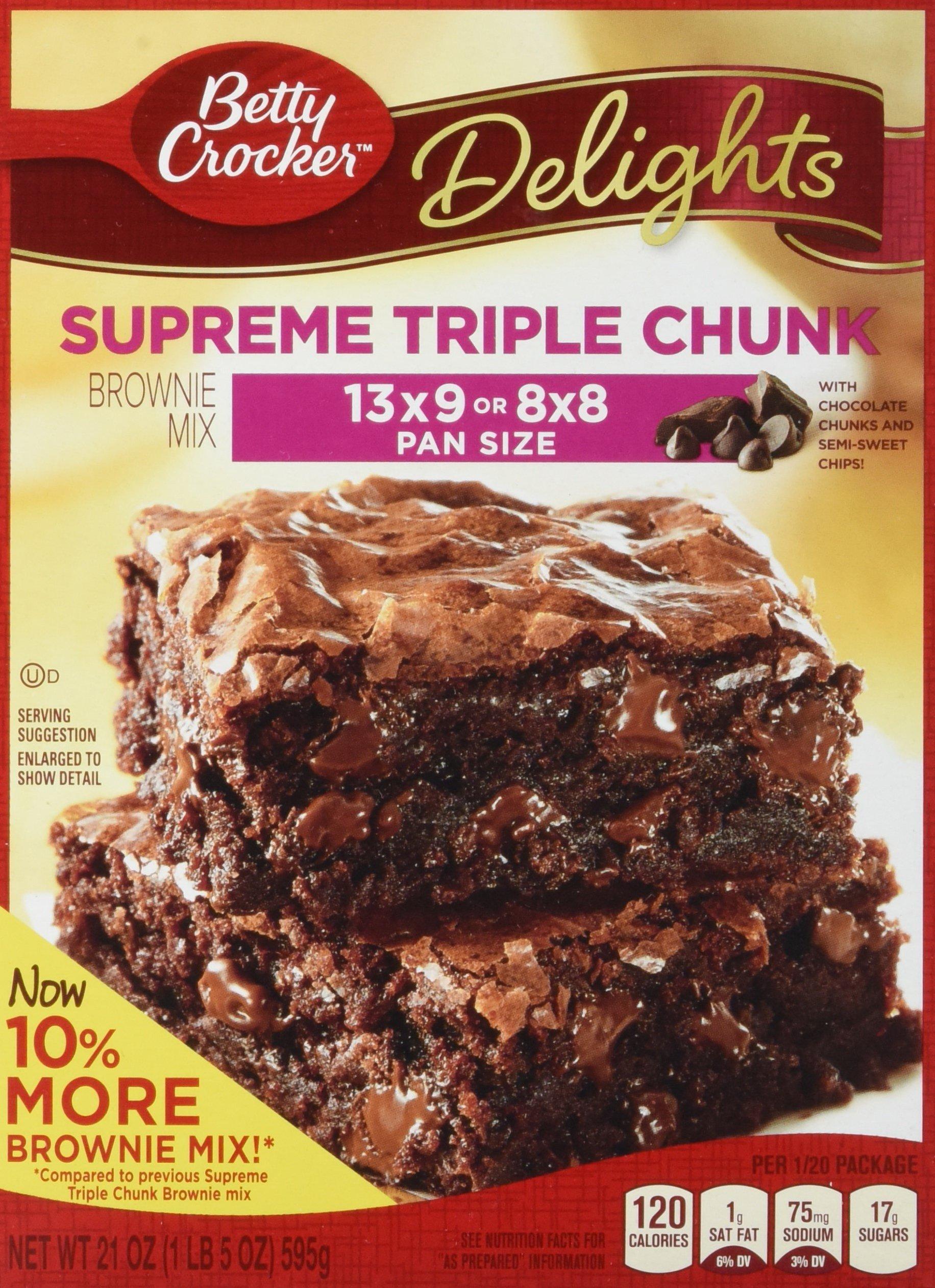 Betty Crocker Delights, Supreme Triple Chunk Brownie Mix, 21 Oz Box (Pack of 8)
