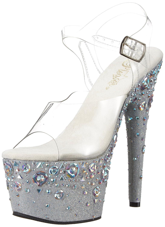 Pleaser Women's Adore-708rose Sandal B074G3WJ75 7 B(M) US|Clr/Frost