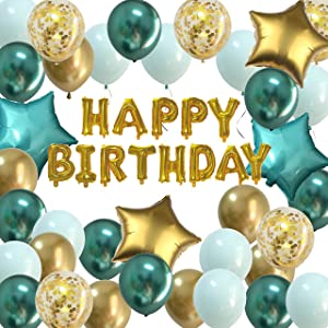 Birthday Decorations Mint Green Gold - Happy Birthday Balloons Chrome Green Set Foil Bannner for Kids Men Women Bday Party Decor Kit Supplies (Chrome Green + Gold)