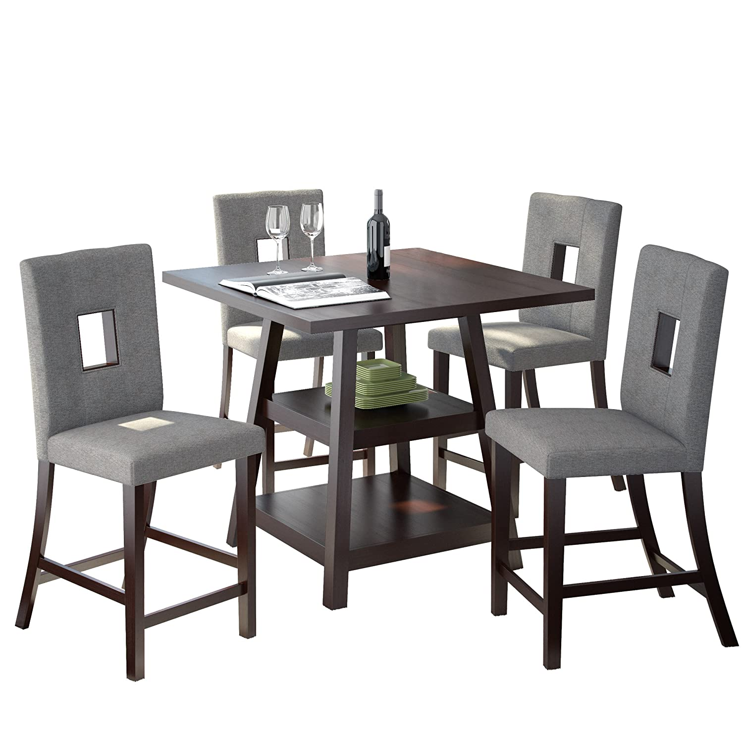 Amazon.com: CorLiving DIP-490-Z1 Bistro 5 Piece 36\'\' Counter Height ...