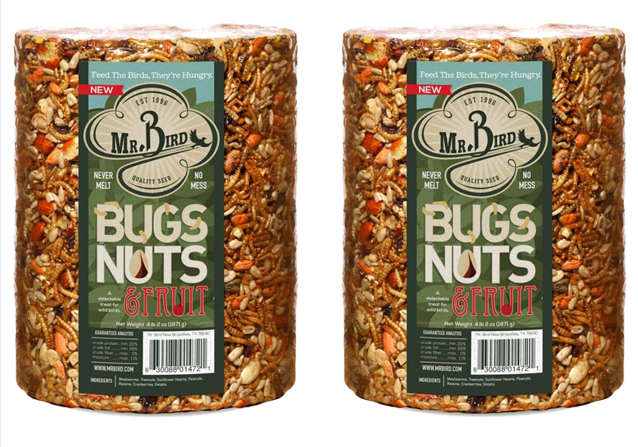2-Pack Mr. Bird Bugs, Nuts & Fruit Wild Bird Seed Large Cylinder 4 lbs. 2 oz.
