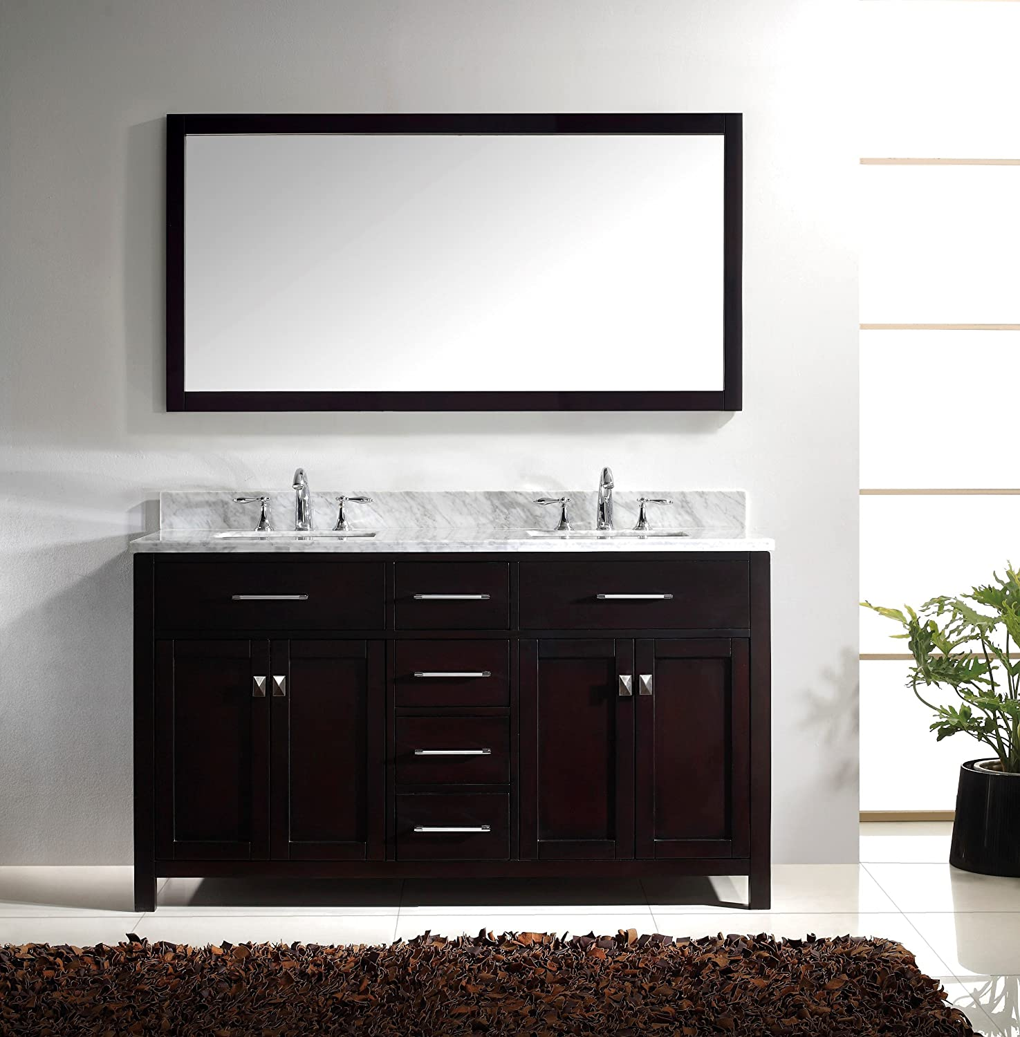 Virtu USA MD 2060 WMSQ ES Caroline 60 Inch Bathroom Vanity With Double  Square Sinks In Espresso And Italian Carrera Marble     Amazon.com