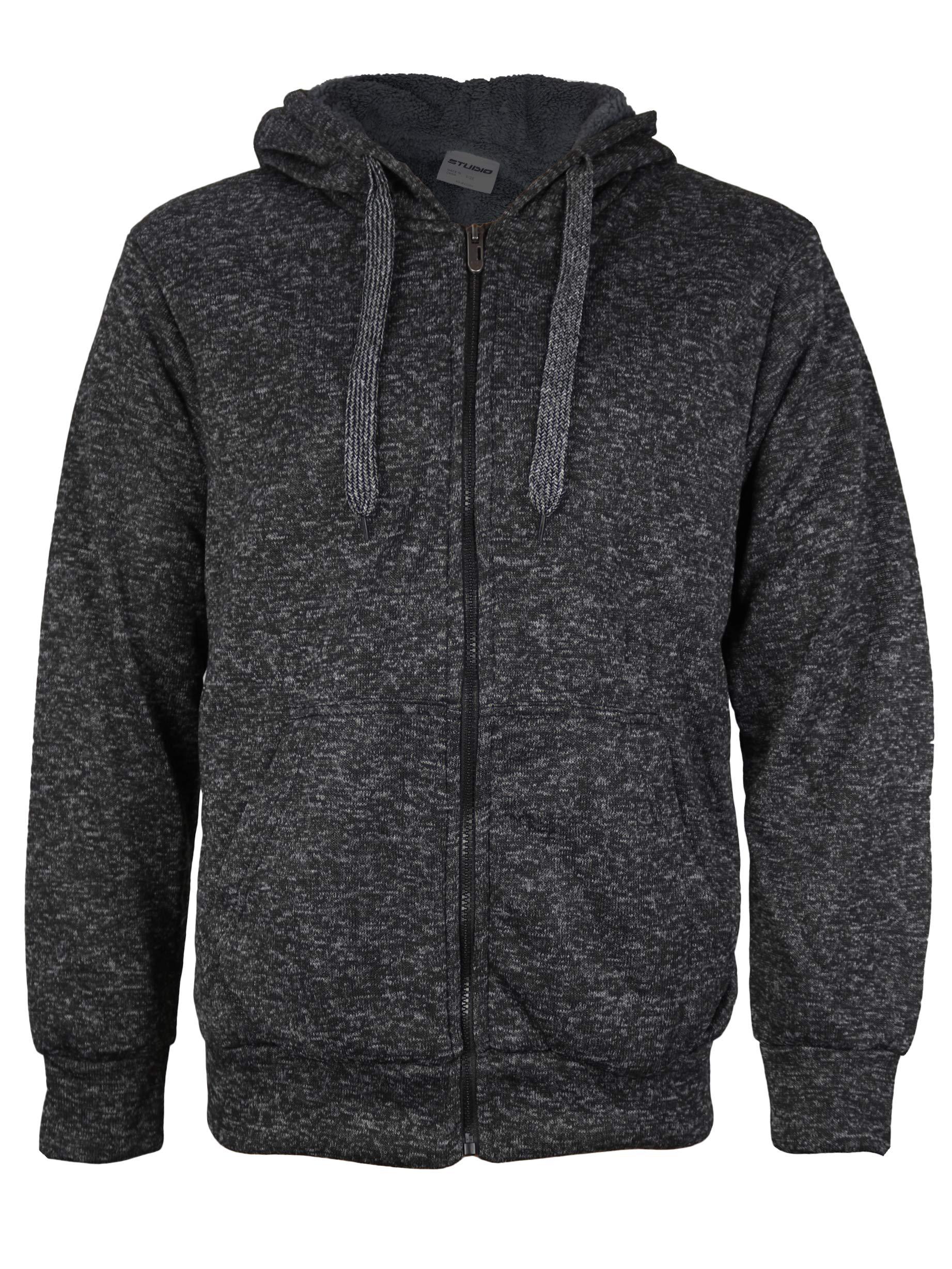 vkwear Men's Athletic Soft Sherpa Lined Fleece Zip Up Hoodie Sweater Jacket (Large, Salt & Pepper (Black))