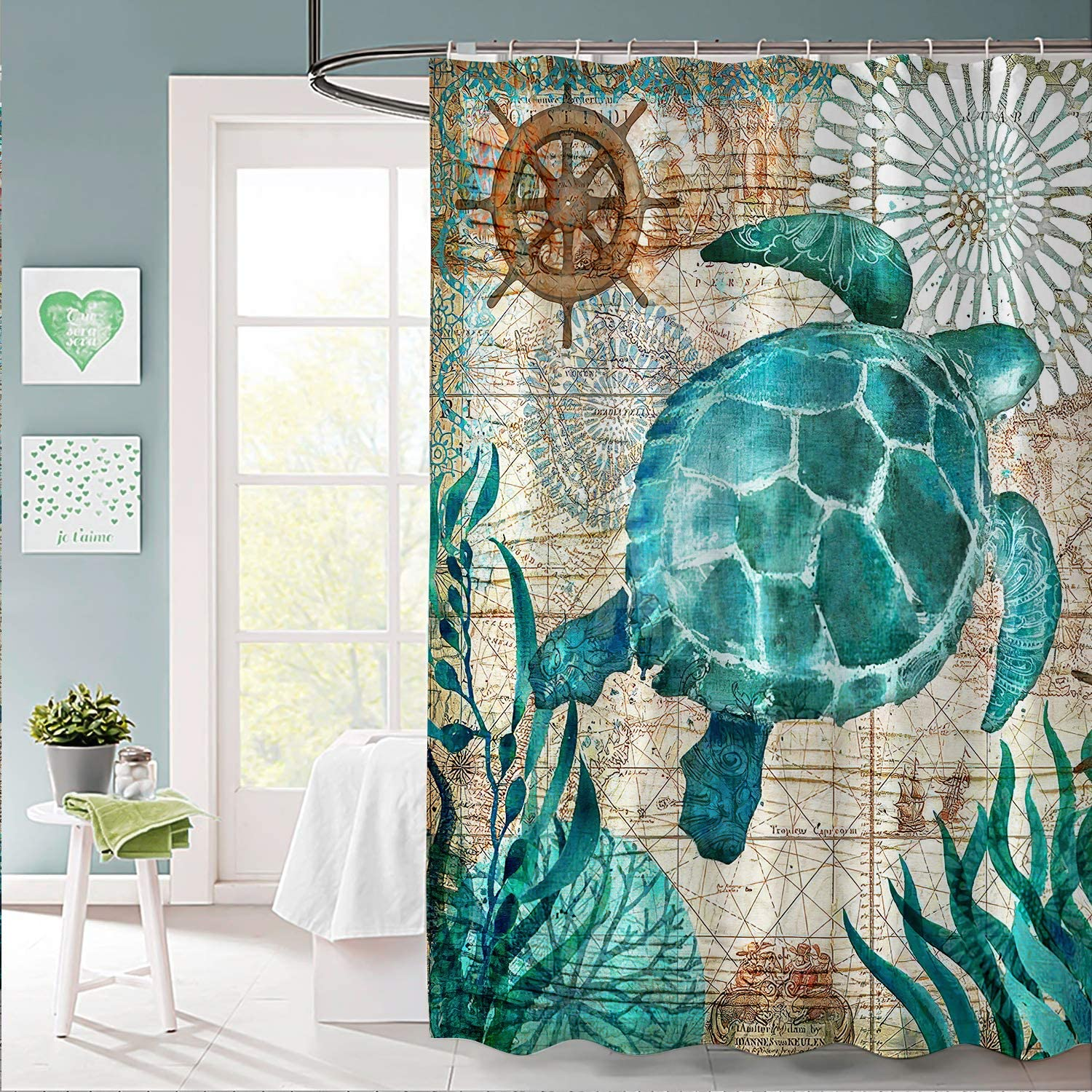 Pknoclan Sea Turtle Shower Curtain Nautical Shower Curtain with 12 Hooks Tropic