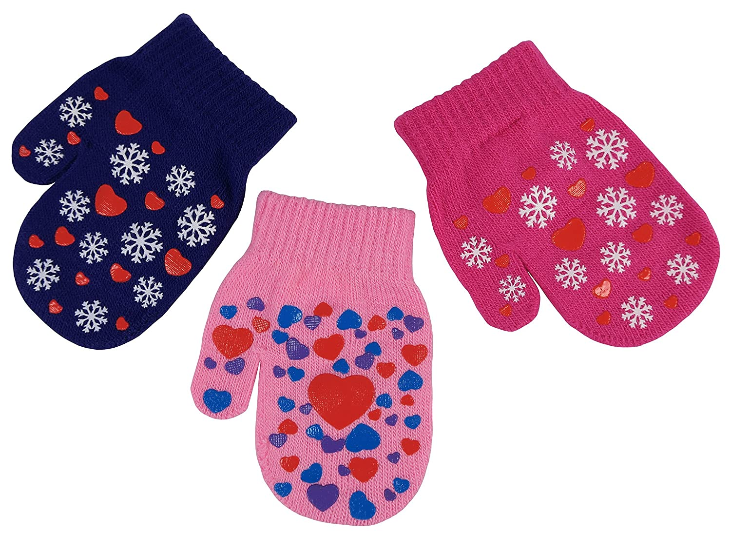 NIce Caps Little Girls and Infants Magic Stretch Mittens 3 Pairs Assortment