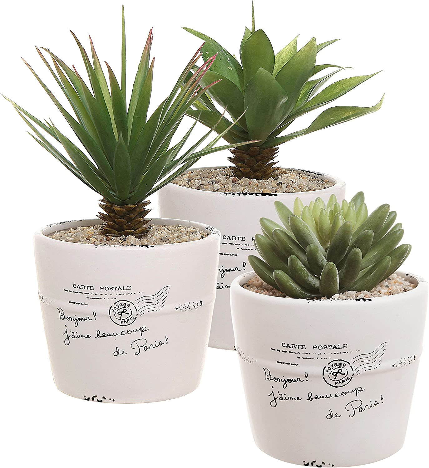 4 inch Rustic White Ceramic French Parisian Postcard Tabletop Succulent Herb Planter Pots Set of 3