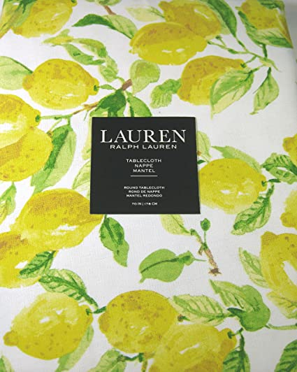 Exceptionnel Ralph Lauren Tablecloth Lemons /Multi Color 70 Round 100% Cotton