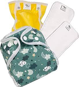 Pañales lavables ecológicos PSS! INNOVATIVE GLAM - Pañales de algodón con relleno extraíble - Kit de 2 pañales con braguita estampada - Hecho en Italia: Amazon.es: Bebé