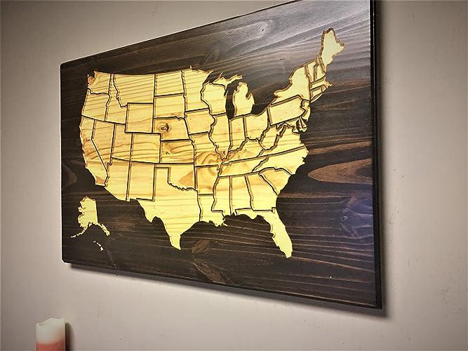 Amazon.com: Wooden US Map, United States Map Art, Wood wall art ...