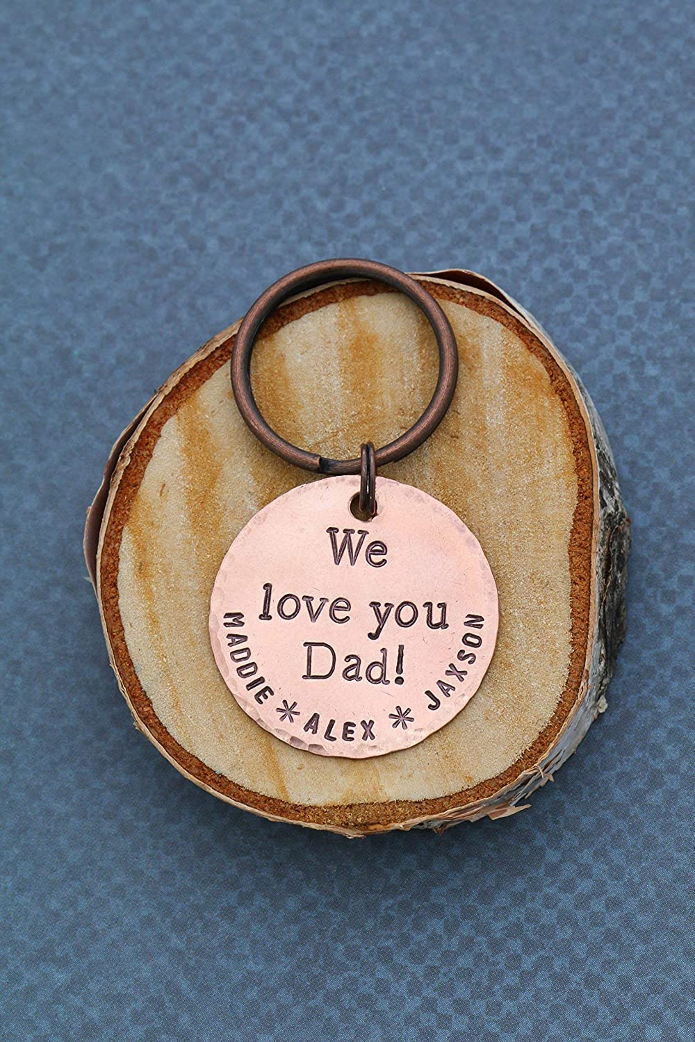 1 Inch 25.4MM Copper Disc Custom Names Grandpa Papa Fathers Birthday Gift New Daddy Handstamped We Love You Keychain DII QQQ