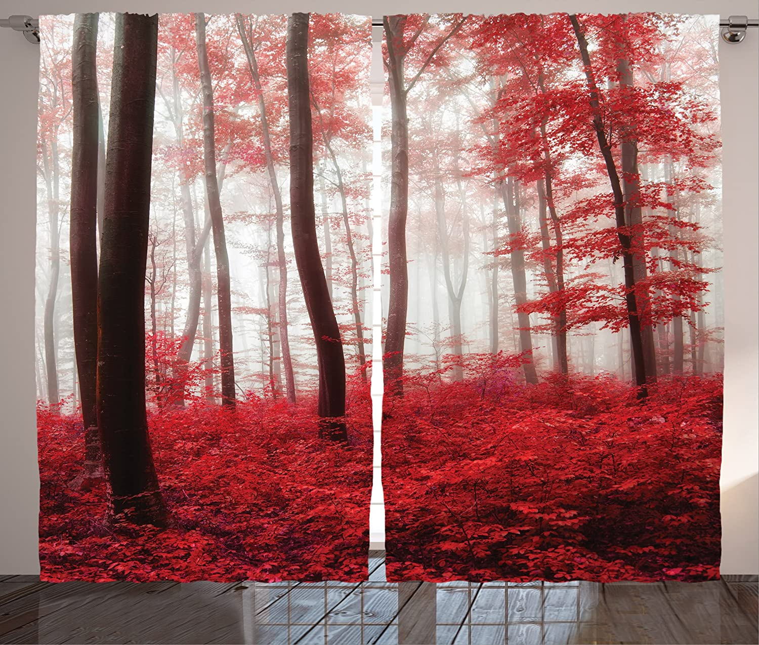 Ambesonne Lake House Decor Curtains, Saturated Picture of Dreamy Mystic Forest with Vivid Effects Mother Earth, Living Room Bedroom Window Drapes 2 Panel Set, 108W X 90L Inches, Red White