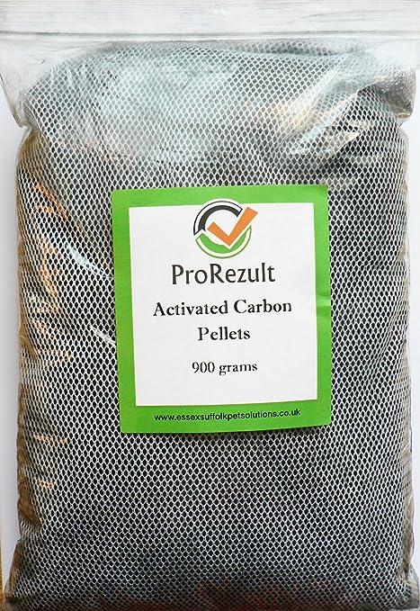 Pellets de carbón activado 900 g. En bolsa de red con cremallera. Filtro de