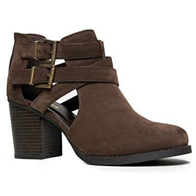 SODA Scribe-S Bootie Boots, Brown Nubuck, 6 | Shoes