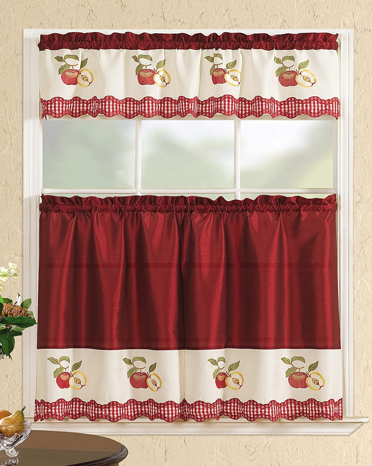 All American Collection Modern Contemporary 3pc Embroidered Home Kitchen Window Treatment Curtain Set (Straight Valance, Red Apples)