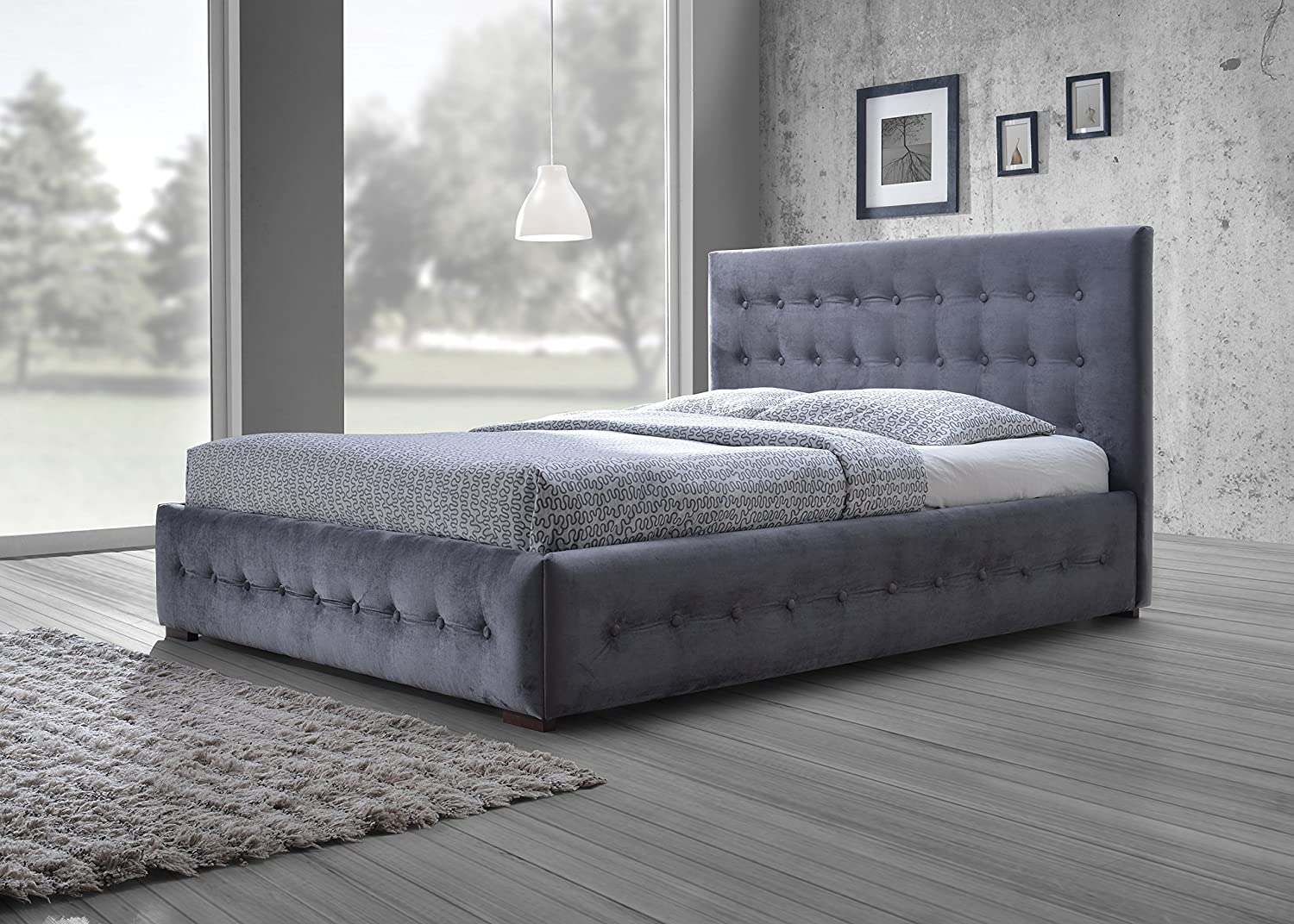 amazoncom wholesale interiors baxton studio margaret modern andcontemporary grey velvet buttontufted king platform bed king kitchen dining. amazoncom wholesale interiors baxton studio margaret modern and