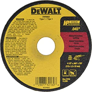 Dewalt DW8062B5 4 Pack 4-1/2in. x 0.045in. Metal and Stainless Cutting Wheel, 5 Pieces per Pack