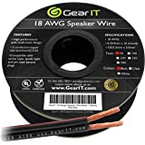 18AWG Speaker Wire, GearIT Pro Series 18 AWG Gauge Speaker Wire Cable (50 Feet / 15.24 Meters) Great Use for Home Theater Speakers and Car Speakers Black