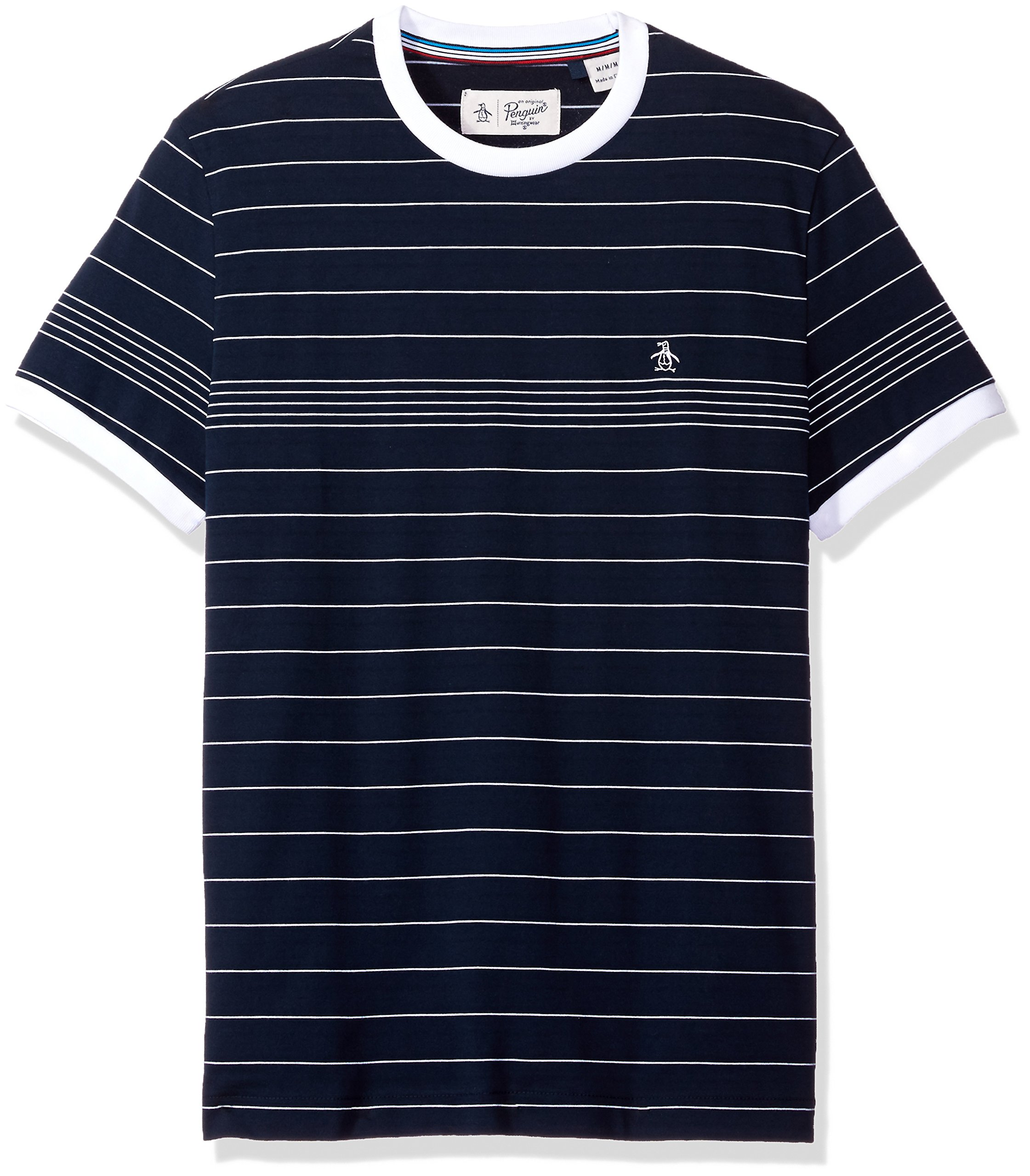 Original Penguin Men's Short Sleeve Slim Fit Engineered Fine Stripe Tee, Dark Sapphire, Medium