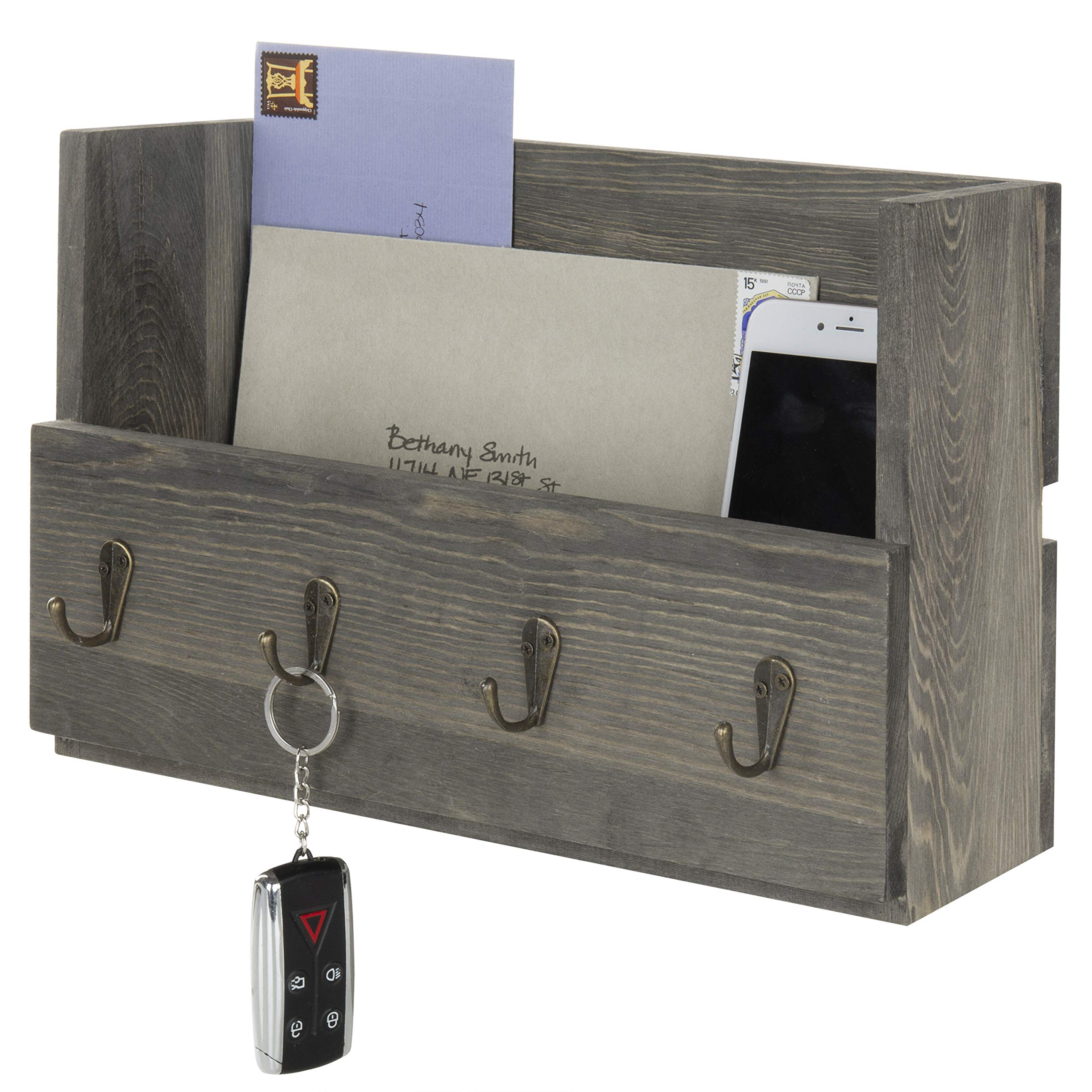 MyGift Rustic Gray Wood Wall Mounted Mail Holder Organizer with 4 Key Hooks