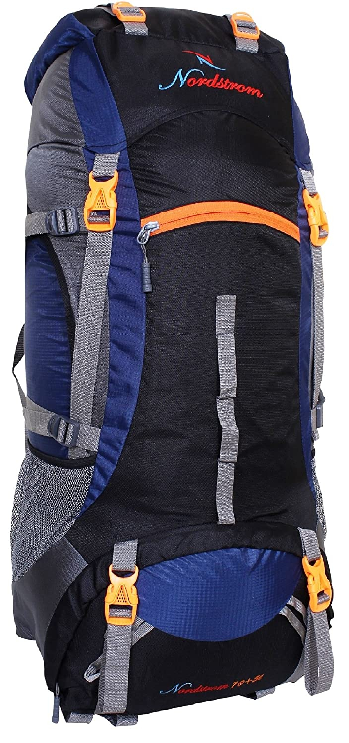 7eb4b730cf Nordstrom 75L 0109 Polyester Climate Proof Mountain Rucksack with Rain Cover  and Laptop Sleeve with Padding(Navy Blue and Black)  Amazon.in  Bags