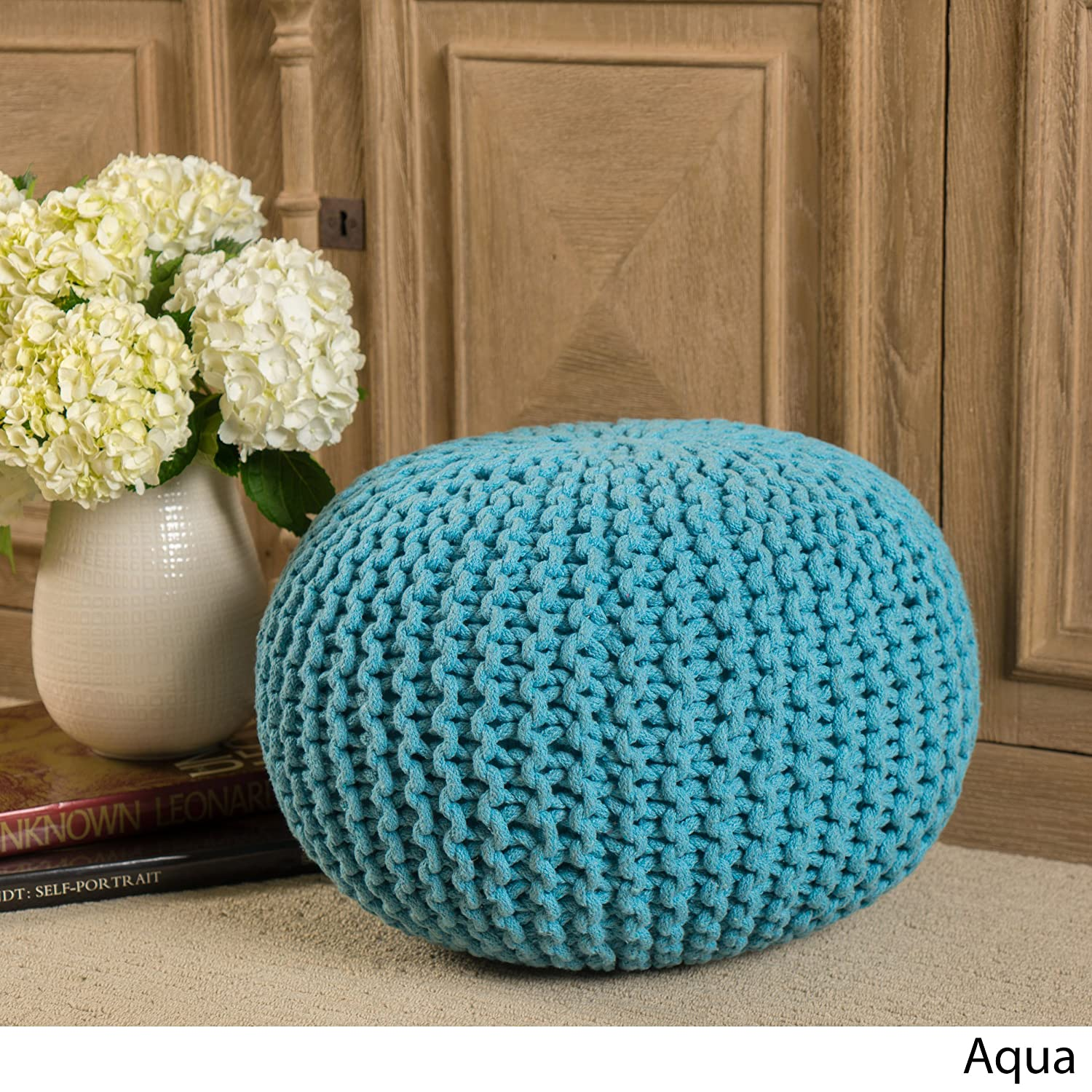 Poona Hand Knitted Artisan Round Pouf (Aqua) GDFStudio