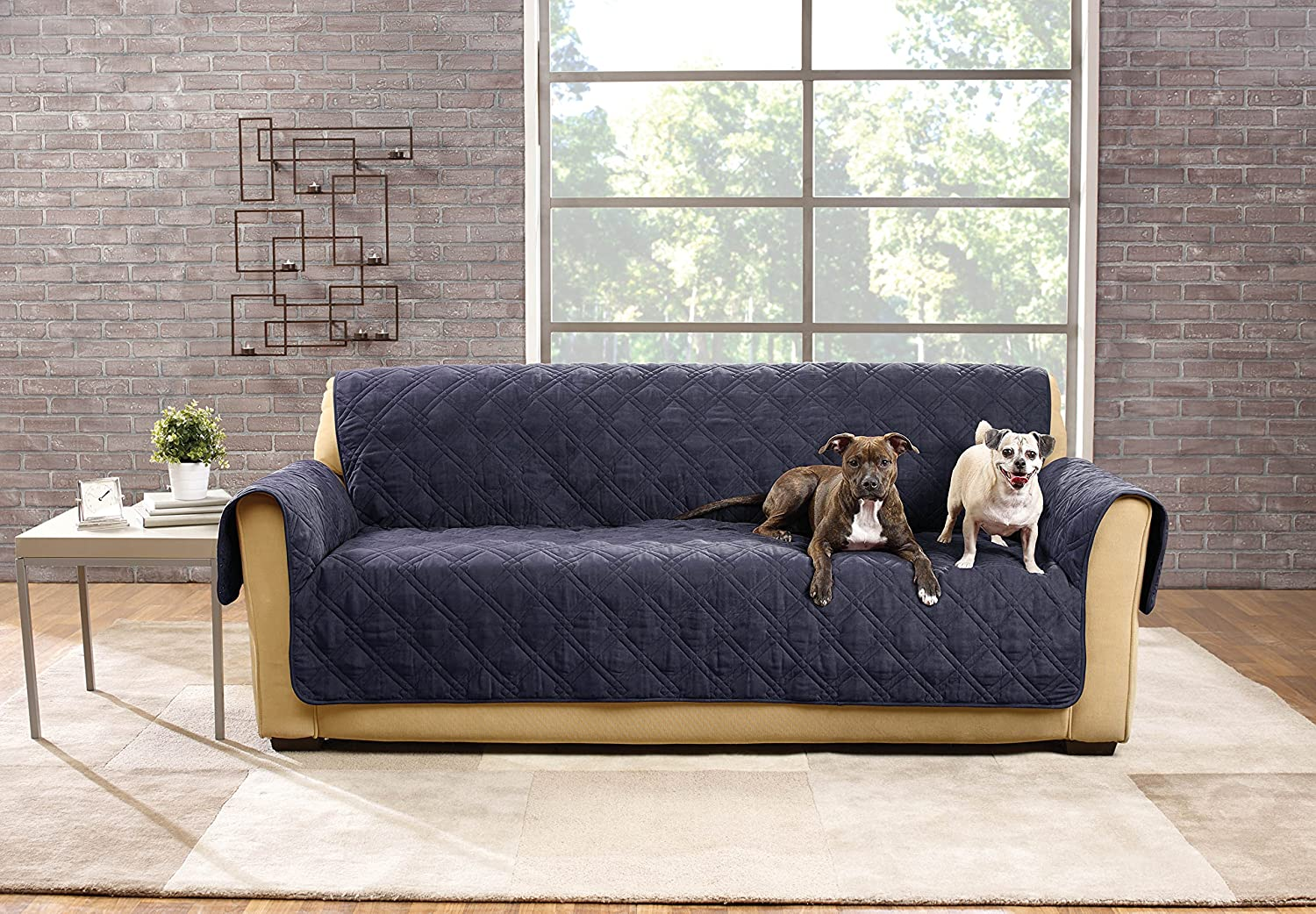 amazoncom sure fit sf44832 deluxe non skid waterproof pet sofa furniture cover storm blue home u0026 kitchen