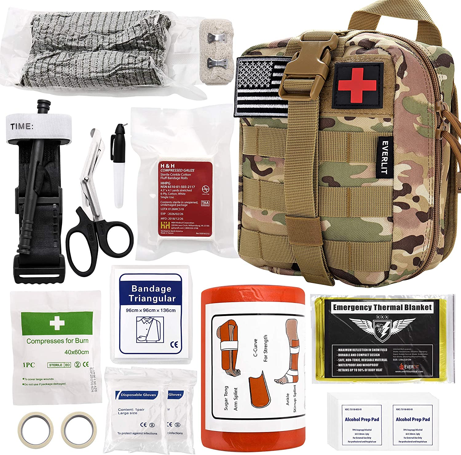"Everlit Emergency Survival Trauma Kit with Tourniquet 36"" Splint, Military Combat Tactical IFAK for First Aid Response, Critical Wounds, Gun Shots, Blow Out, Severe Bleeding Control and More (CP Camo)"
