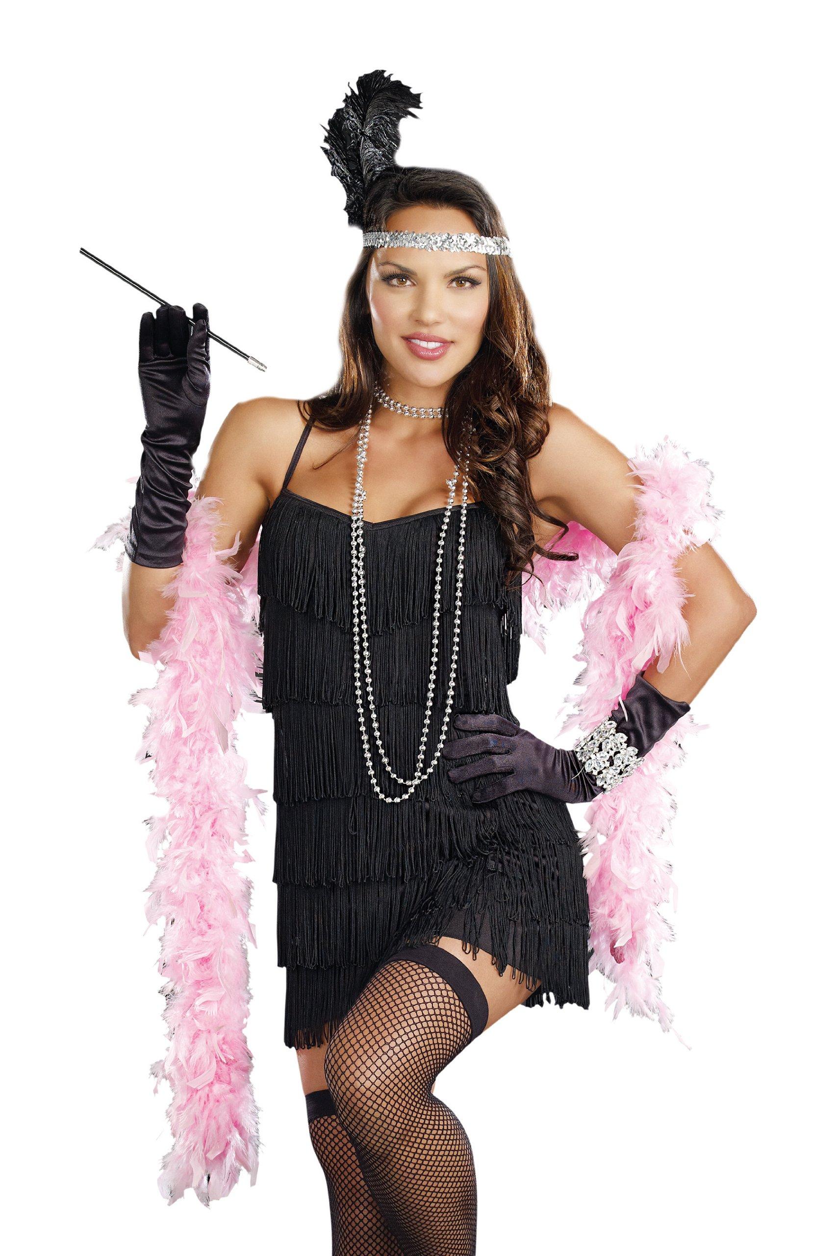 Dreamgirl Women's Flapper Costume, Black, Medium