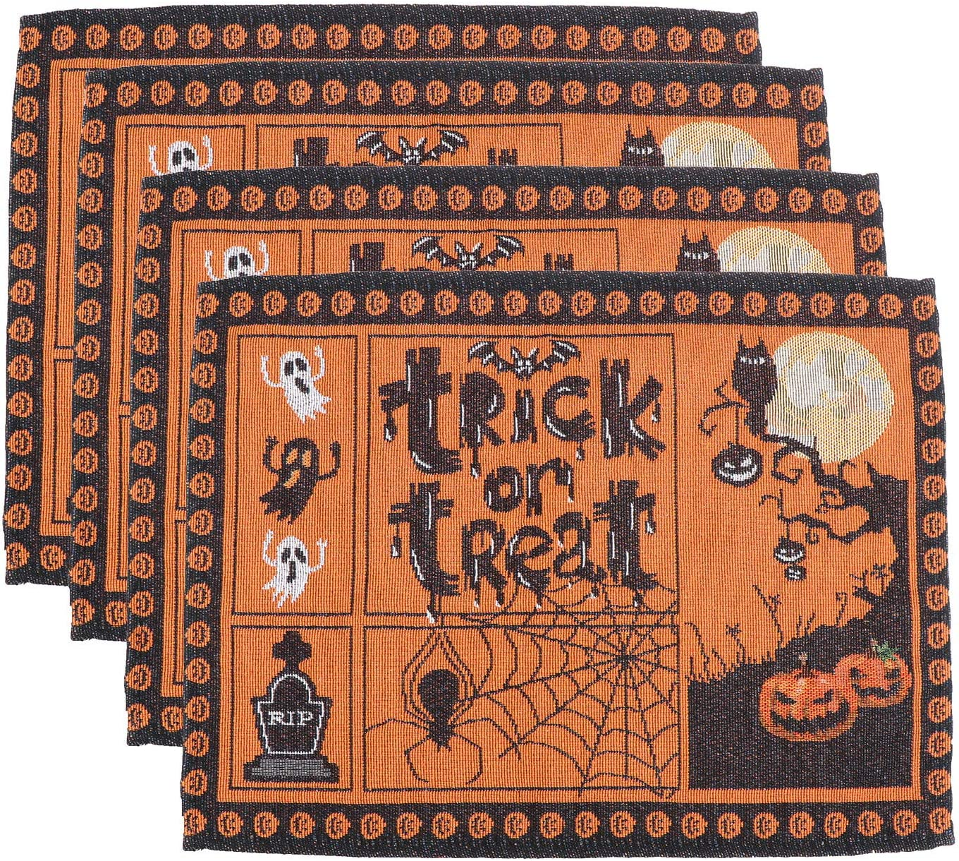 HEMOTON Halloween Placemats Set of 4 Heat-Resistant Dinner Table Mats Pads 12x18 in Ghost Pumpkin Pattern Linen Placemats Perfect for Halloween Dinner Parties and Scary Movie Nights