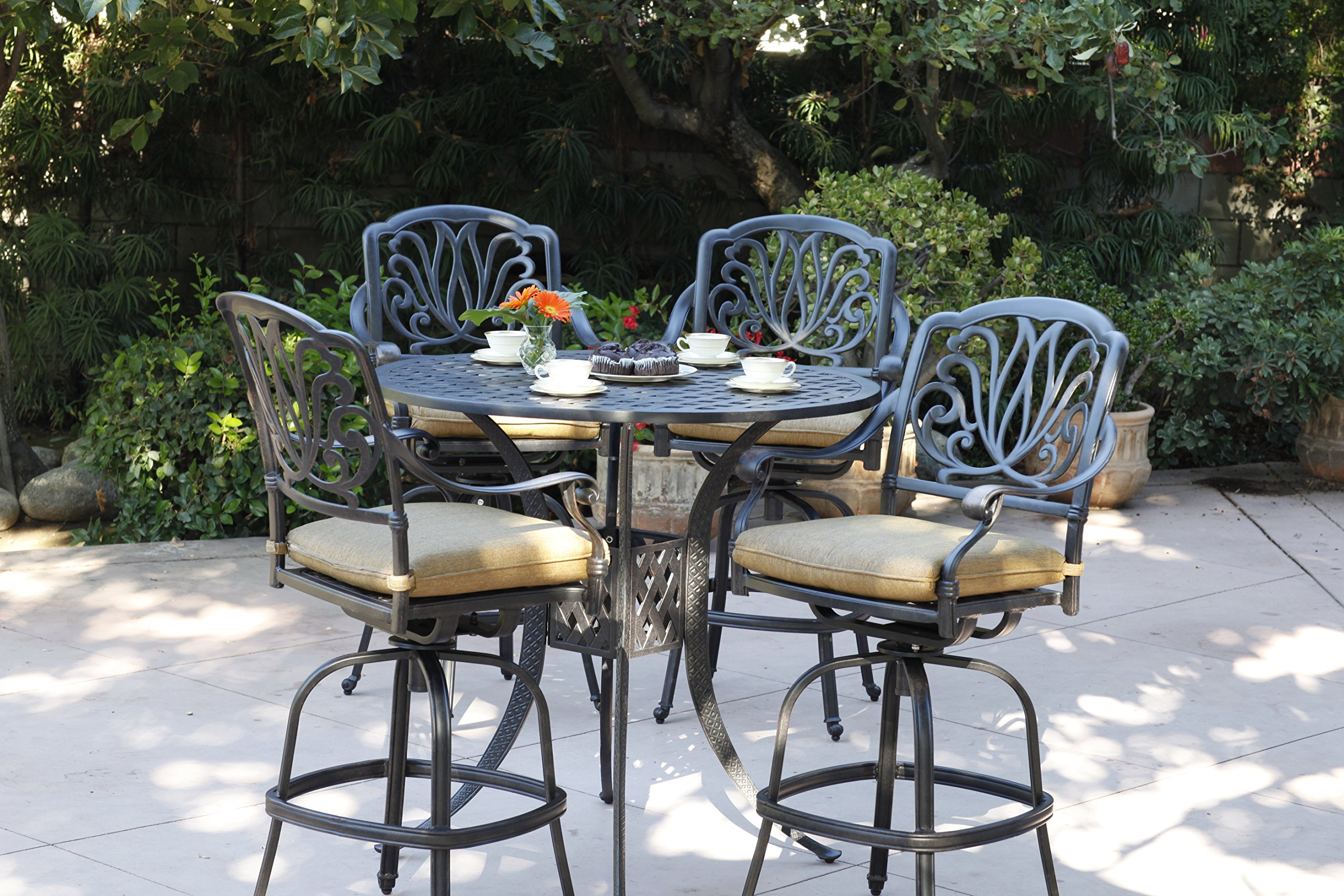 Darlee Elisabeth Cast Aluminum 5-Piece Bar Set with Seat Cushions and 42-Inch Bar Table, Antique Bronze Finish