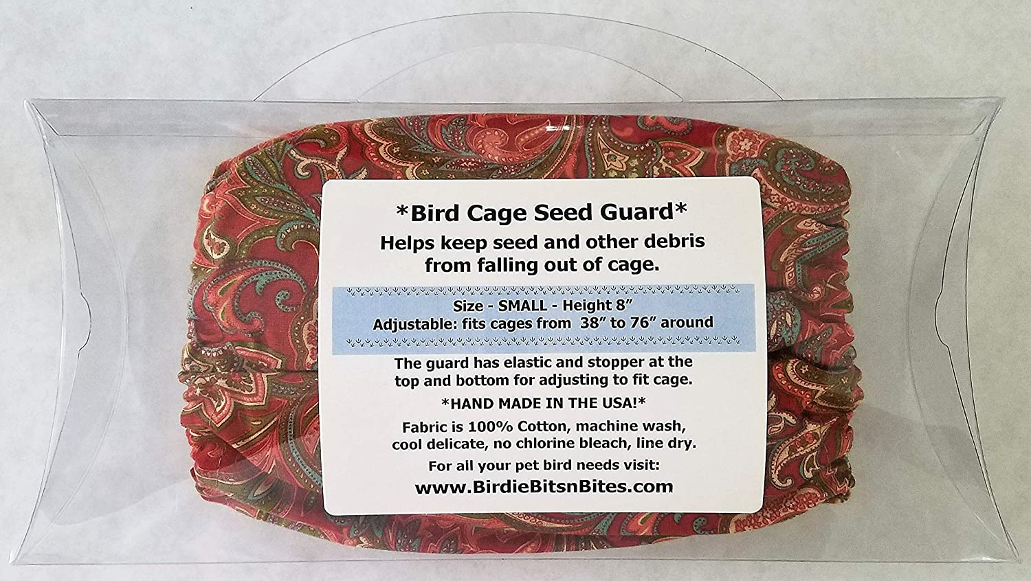 Wine Paisley Penn Seed Seed Guard and Catcher Bird Cage Skirt