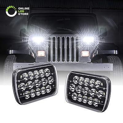 7x6 5x7 LED Headlights H6054 H5054 [Black Finish] [45W] [H4 Plug & Play] [Low/High Beam: 6/15 LEDs] - H6054LL 69822 6052 6053 Head Light for Jeep Wrangler YJ Cherokee XJ: Automotive