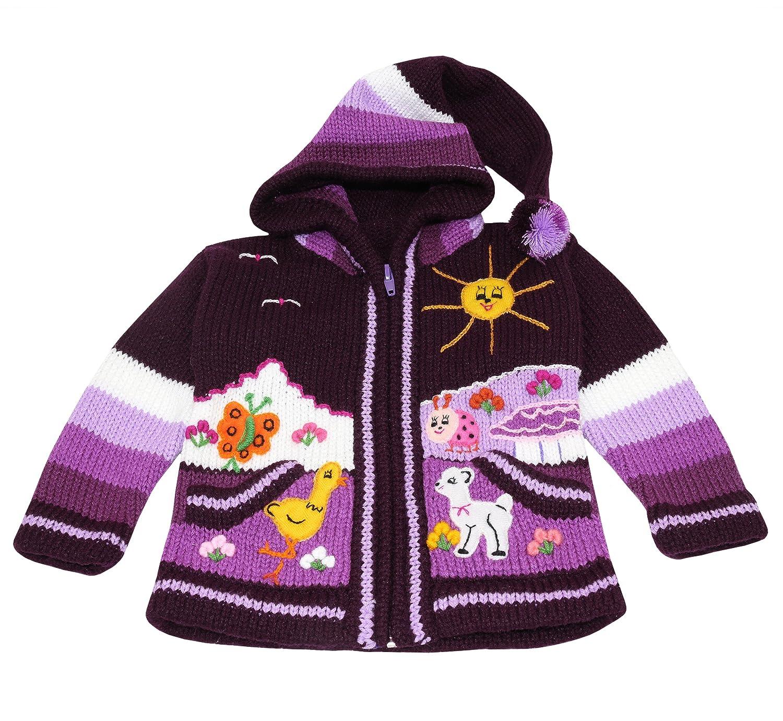 Wolle Weich und Warm f/ür Freizeit oder Anl/ässe Gr/ö/ße 62 bis 116 Sunny Times Kinderstrickjacke aus Peru Lila Jacke mit Kapuze und Rei/ßverschluss f/ür Babys und Kinder Handgefertigt