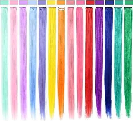 SARARHY 14 PCS Accesorios para el cabello de moda Piezas de peluca arcoíris para niñas y muñecas Clip de extensión de cabello de colores en Lo más ...