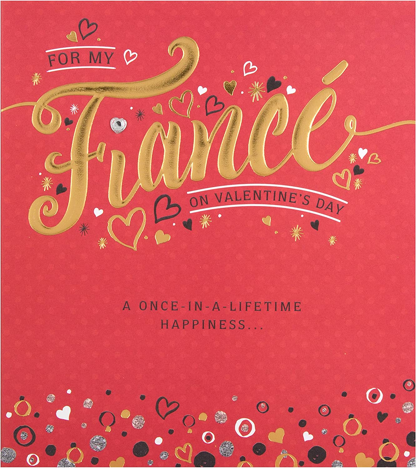 To My Gorgeous Fiance Hearts /& Word Design Valentines Day Card Lovely Verse