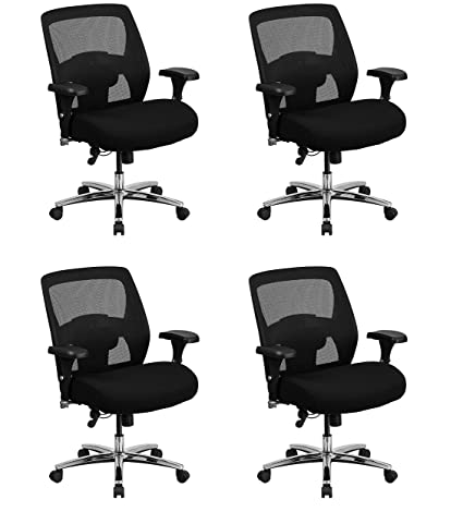 5b0848a66ba Amazon.com  Flash Furniture Hercules Series 24 7 Intensive Use Big   Tall  500 lb. Rated Black Mesh Executive Swivel Chair with Ratchet Back (Pack of  4)  ...