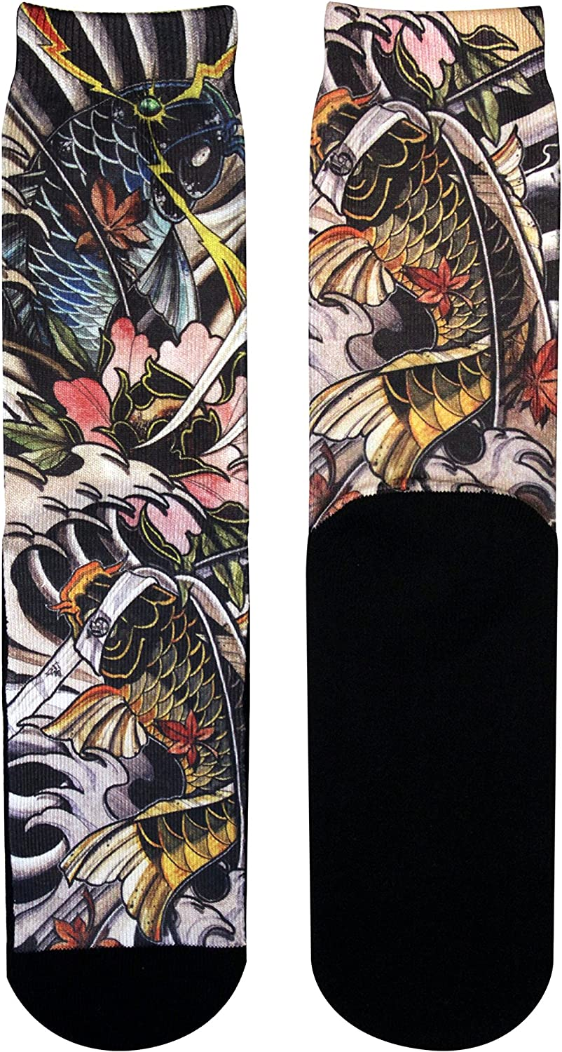 Gold Ink Custom Premium Novelty Socks Gift Stance With Real Tattoo Art Prints