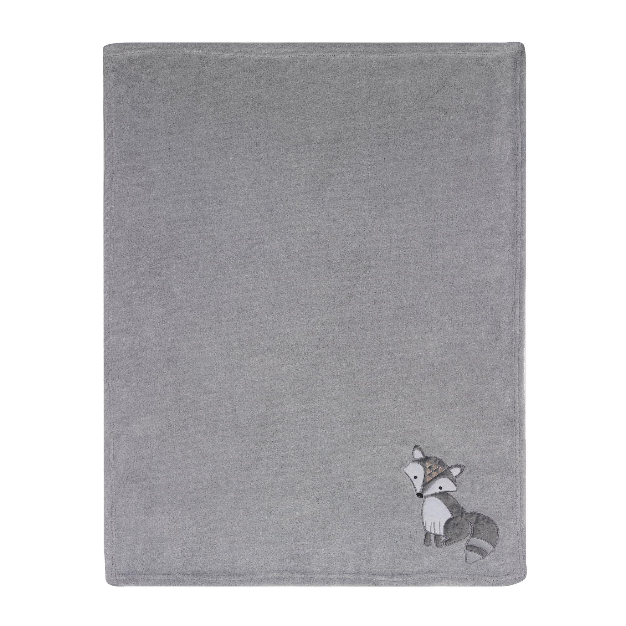 Bedtime Originals Little Rascals Fox Blanket, Gray/White