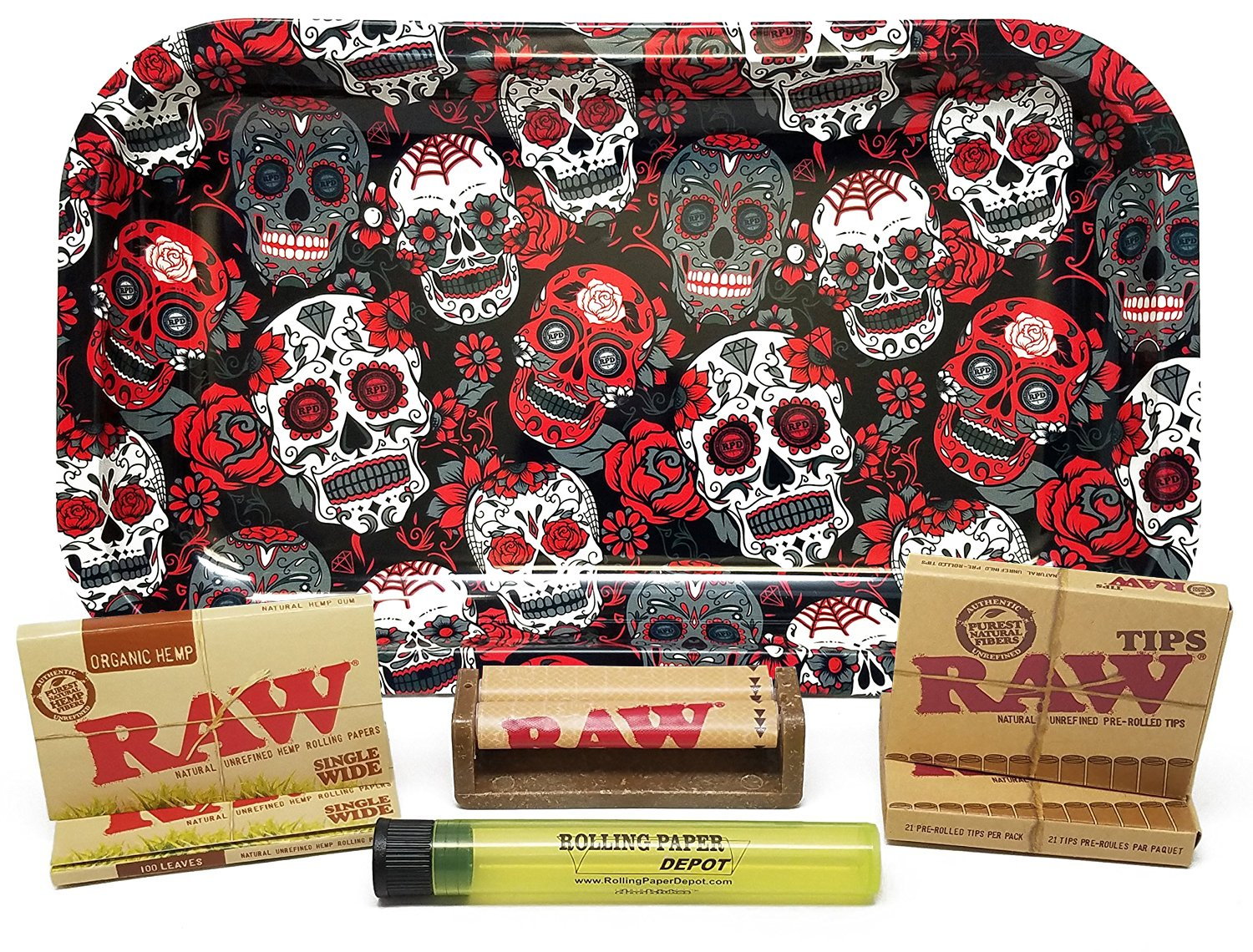 Bundle - 7 Items - Rolling Paper Depot Rolling Tray with RAW Single Wide Rolling Papers, Pre-Rolled Tips, 70mm Roller and Doobtube (Organic, Skulls)