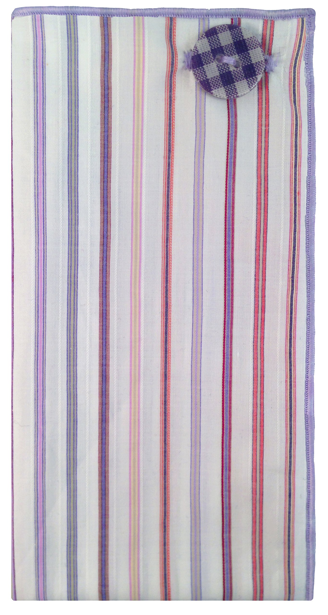 White & Multi Stripe w/Gingham Button Men's Pocket Square by The Detailed Male by The Detailed Male (Image #2)