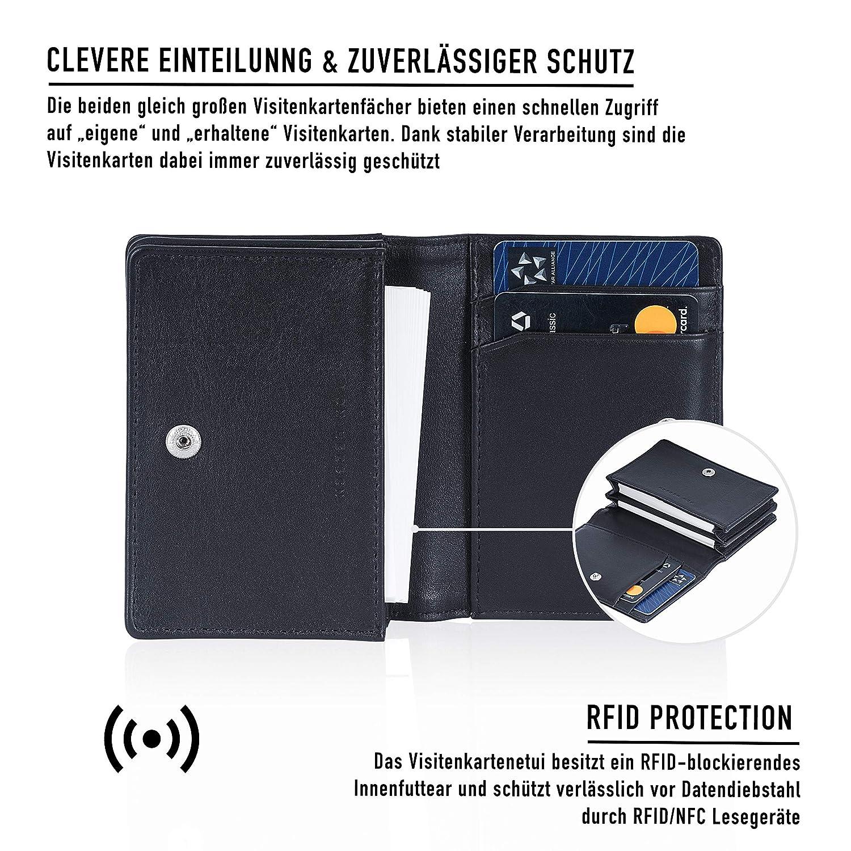 Von Heesen Business Card Case Black Black Echtleder