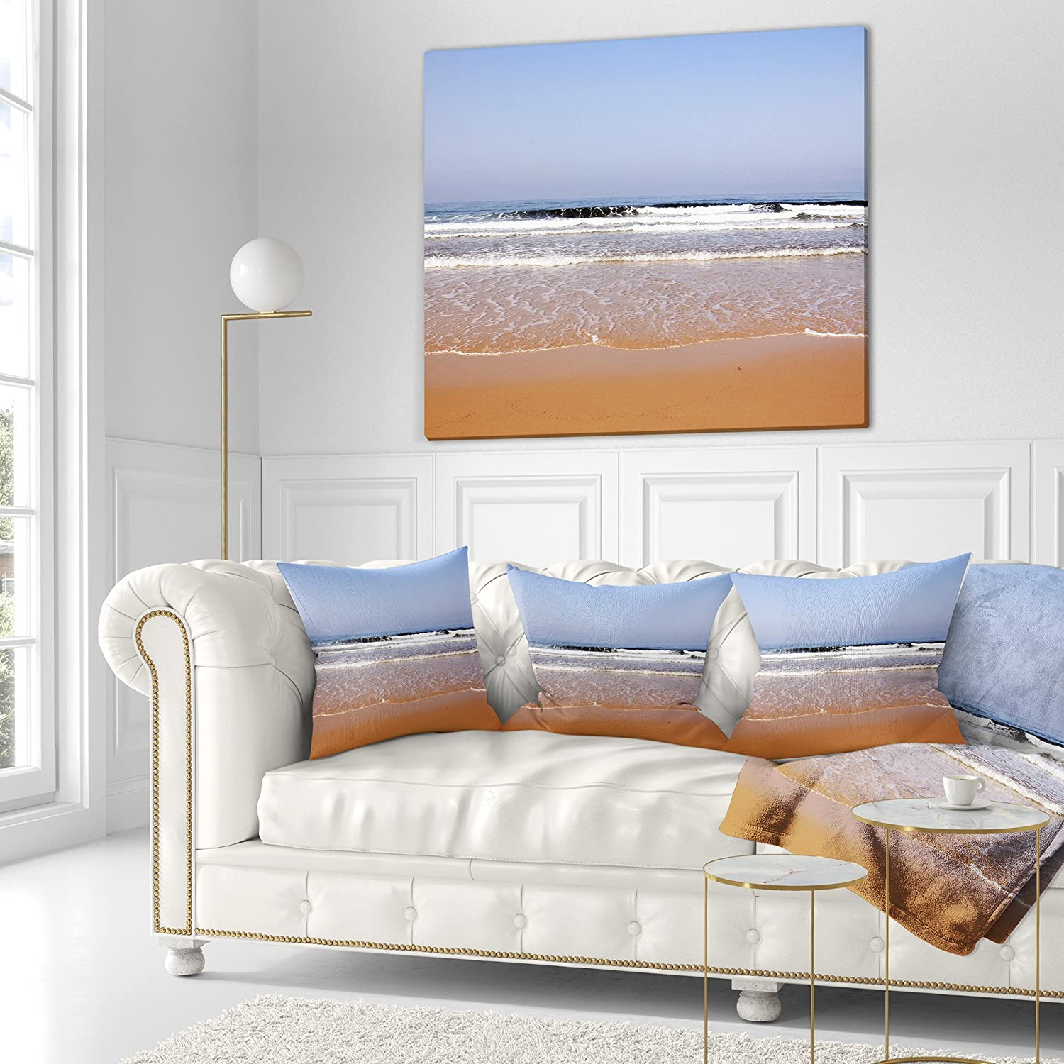 Designart CU10709-18-18 Beautiful Sea and Beach Ashdod Israel Seashore Cushion Cover for Living Room x 18 in in Insert Printed On Both Side Sofa Throw Pillow 18 in