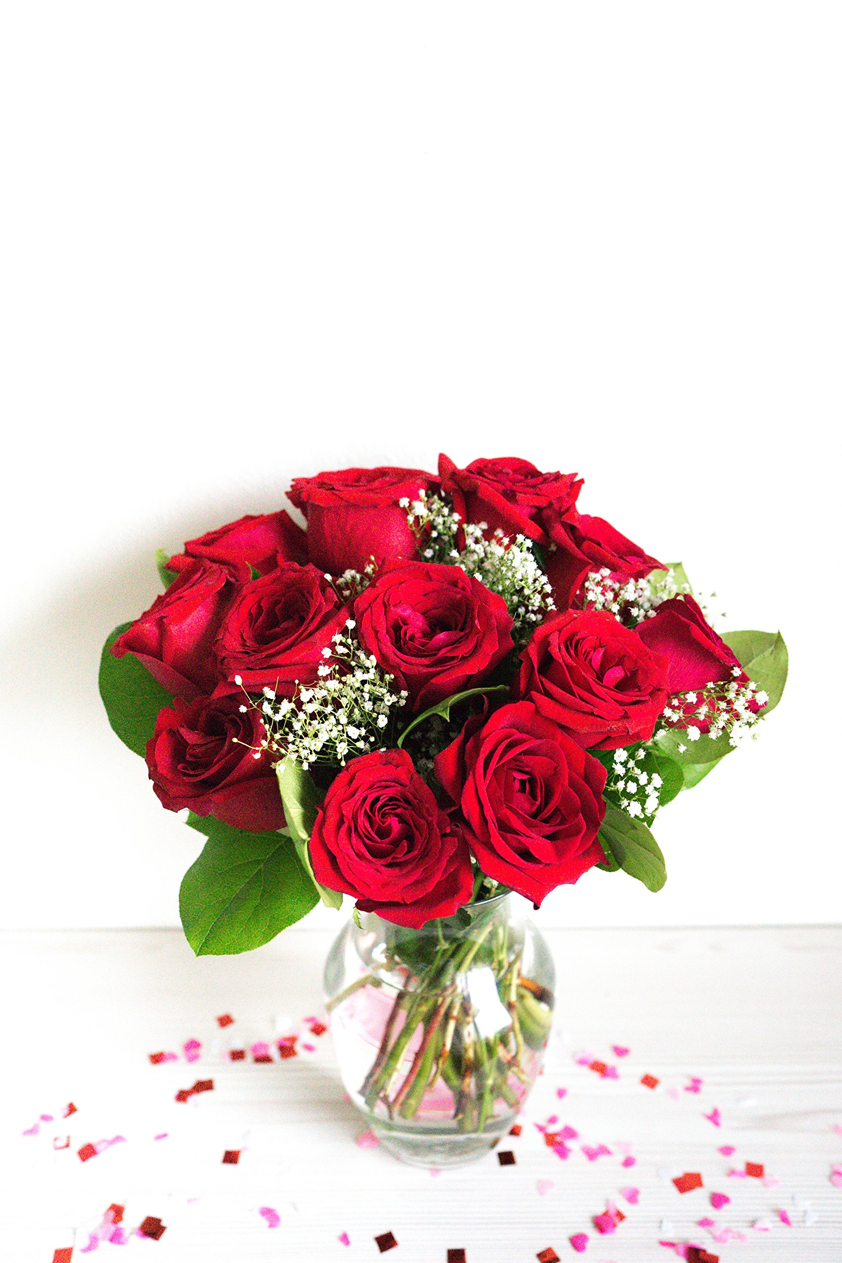 Flowers - One Dozen Long Stemmed Red Roses (Free Vase Included) by From You Flowers (Image #4)