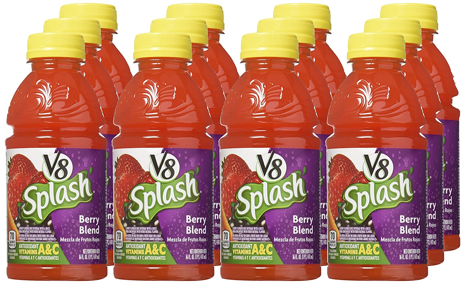 Amazon.com : V8 Splash Berry Blend, 16 oz. Bottle : Vegetable Juices : Grocery & Gourmet Food